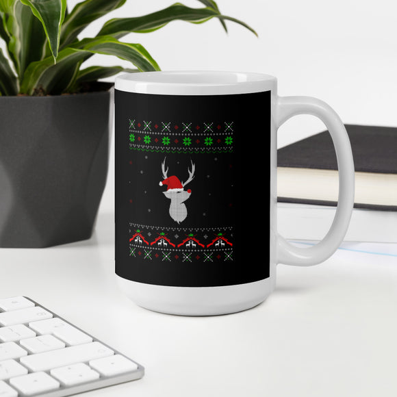 Christmas Pajama Deer With Santa Hat Mug For Deer Hunter