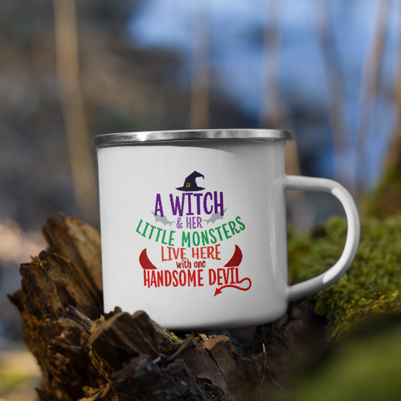 A Witch And Her Little Monsters Halloween Enamel Mug