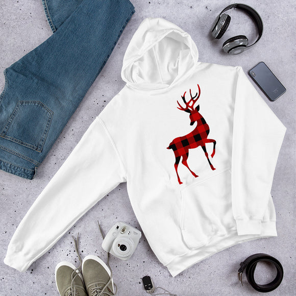 Christmas Reindeer Unisex Hoodie With Red & Black Buffalo Plaid Flannel