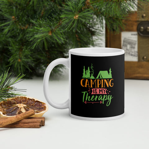 Camping Is My Therapy Adventure Coffee Mug Whether you're drinking your morning coffee, evening tea, or something in between – this mug's for you! It's sturdy and glossy with a vivid print that'll withstand the microwave and dishwasher.