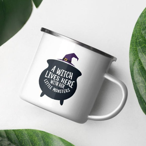 A Witch Lives Here With Her Little Monsters Halloween Enamel Mug