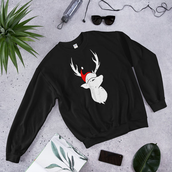 Christmas Pajama Deer With Santa Hat Unisex Sweatshirt For Deer Hunting