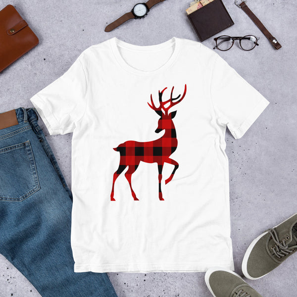 Christmas Reindeer Unisex T-Shirt With Red & Black Buffalo Plaid Flannel