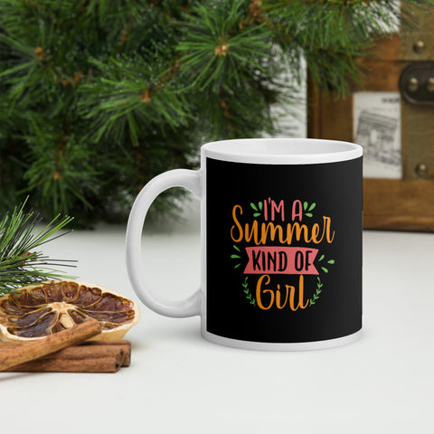I'm A Summer Kind Of Girl Adventure Coffee Mug Whether you're drinking your morning coffee, evening tea, or something in between – this mug's for you! It's sturdy and glossy with a vivid print that'll withstand the microwave and dishwasher.