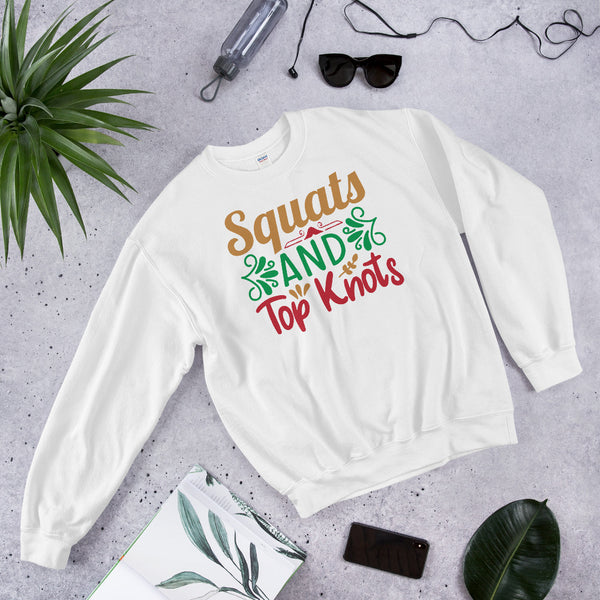 Squats And Top Knots Christmas Pajama Unisex Sweatshirt