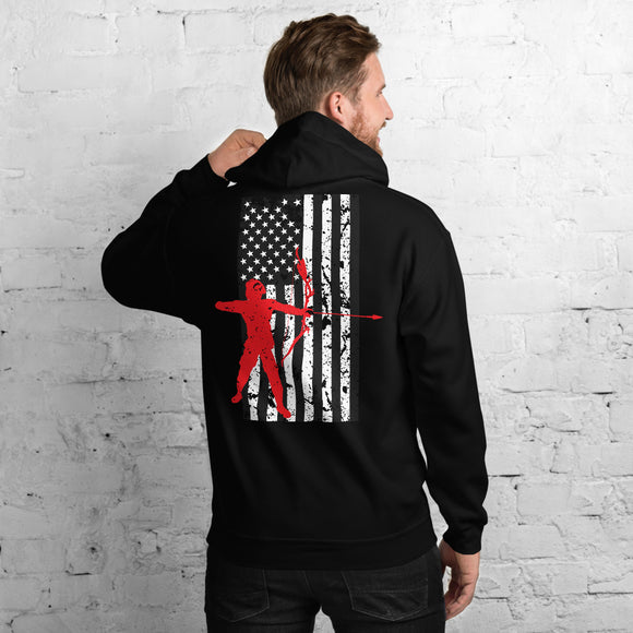 Crossbow Arrow American Flag Bow Hunting Unisex Hoodie