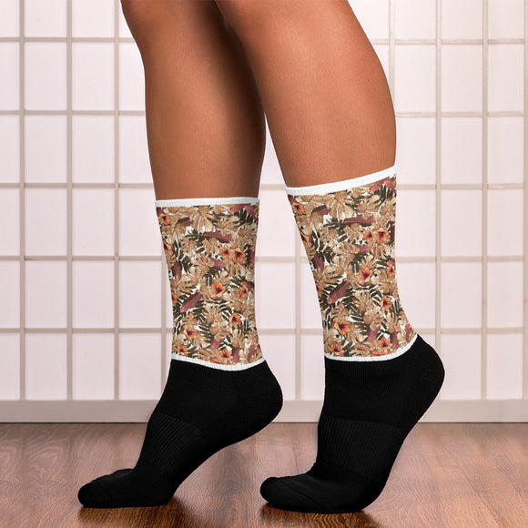 Orange Flower Patterns Socks