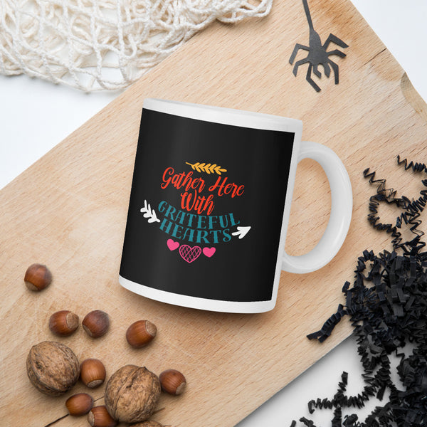 Gather Here With Grateful Hearts Thanksgiving And Fall Mug