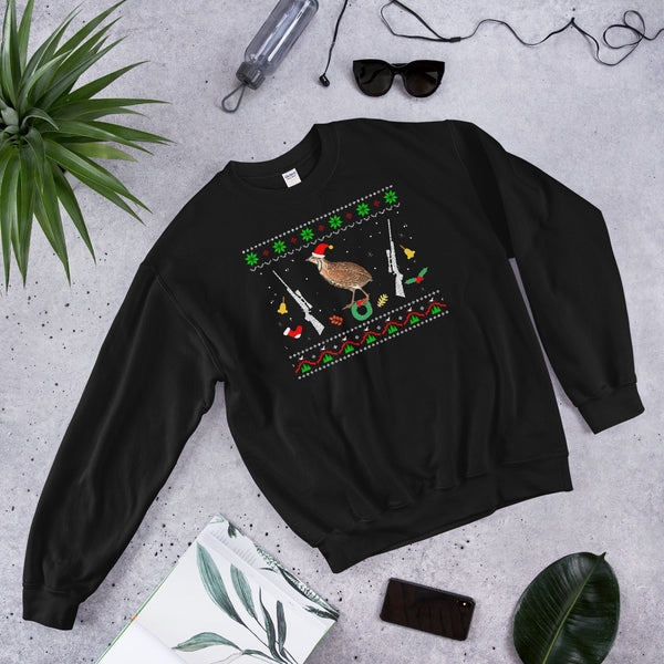 Funny Christmas Pajama Unisex Sweatshirt For Quail Hunter