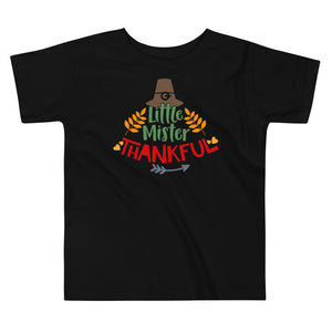 Little Mister Thankful Thanksgiving And Fall Toddler Short Sleeve Tee