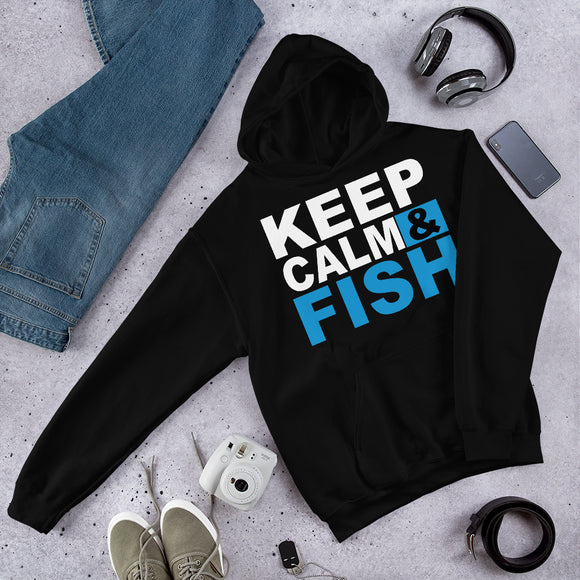 Keep Calm And Fish Funny Fisherman Unisex Hoodie