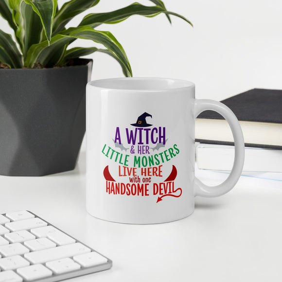 A Witch And Her Little Monsters Halloween Coffee Mug