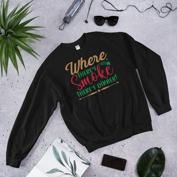 Where There's Smoke There's Dinner Ugly Christmas Unisex Sweatshirt