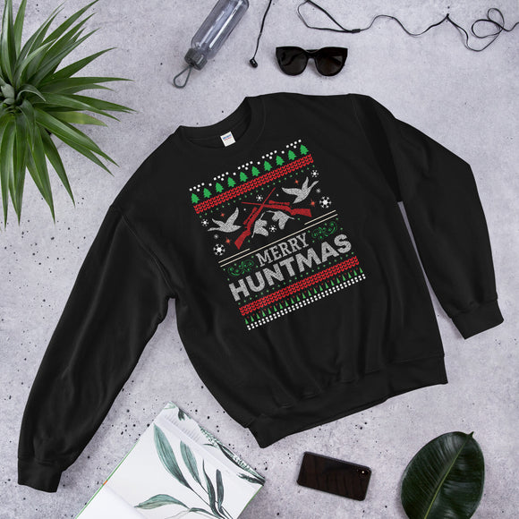 Merry Huntmas Waterfowl Hunting Christmas Ugly Unisex Sweatshirt