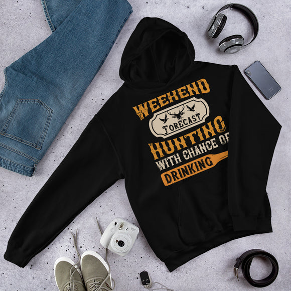 Weekend Forecast Hunting With Chance Of Drinking Funny Gift Unisex Hoodie