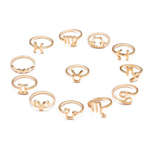 Zodiac Sign Finger Rings Set