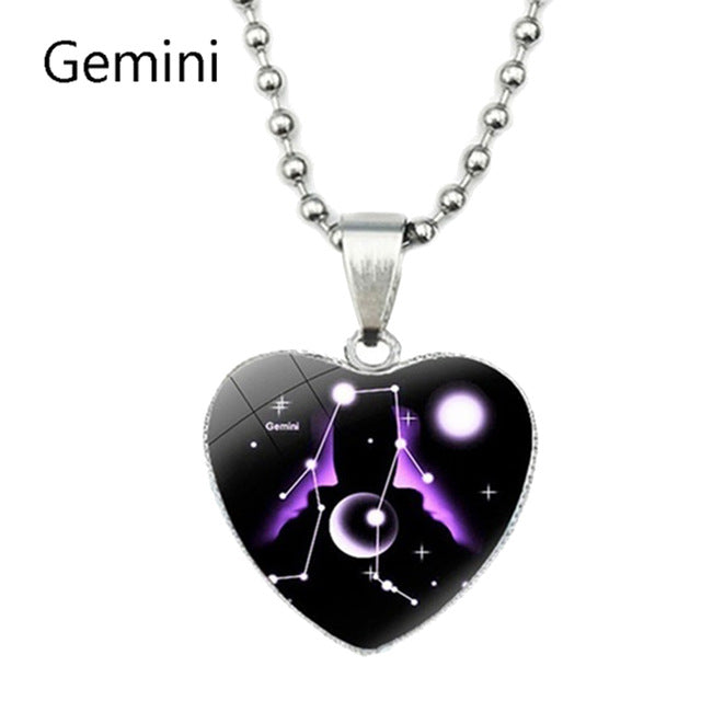 Zodiac Constellations Sign Glass Heart Necklace