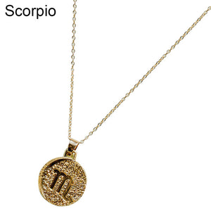 Zodiac Embossed Pendant Chain Necklace