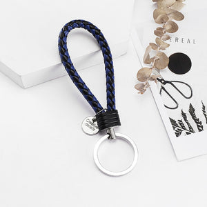 Leather Braided Woven Rope keychain