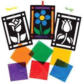 Flower Stained Glass Decorations KIt - Pack of 6