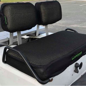 Cool Dry Covers seat covers set to fit Club Car DS golf cart with 2 piece backrest (pre-2000). Shown installed on cart.
