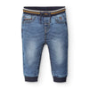 MAYORAL BABY SOFT DENIM JOGGERS IN LIGHT