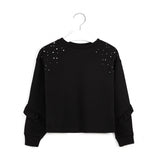 MAYORAL TWEEN KNIT RUFFLE + STUD SWEATSHIRT
