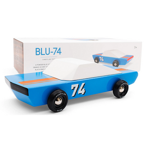 CHILDREN'S BLUE WOODEN TOY RACE CAR