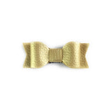 BABY WISP GOLD MIA LEATHER BOW HAIR CLIPS