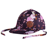 L&P BABY FLORAL HAT WITH TIES AND LEATHER LOGO