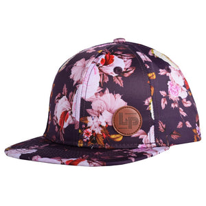 L&P FLORAL HAT WITH LEATHER LOGO