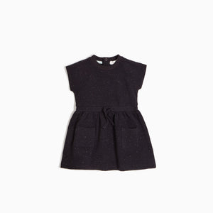 MILES KIDS BLACK SPECKLE DRESS WITH SINCHED WAIST