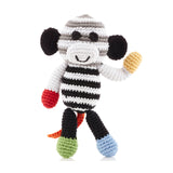 PEBBLE BLACK + WHITE MONKEY RATTLE