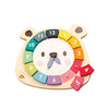 TENDER LEAF BEAR COLOURS WOOD CLOCK