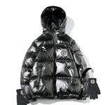 Shiny Wet Look Puffa Jackets with gloves that pop to the sleeve or each other