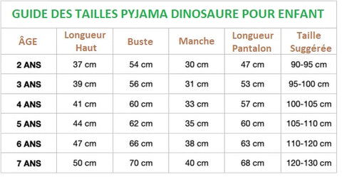 guide des tailles pyjama dinosaure music