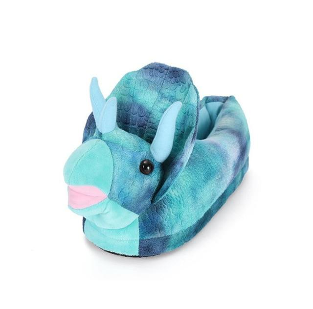 chausson dinosaure triceratops bleu