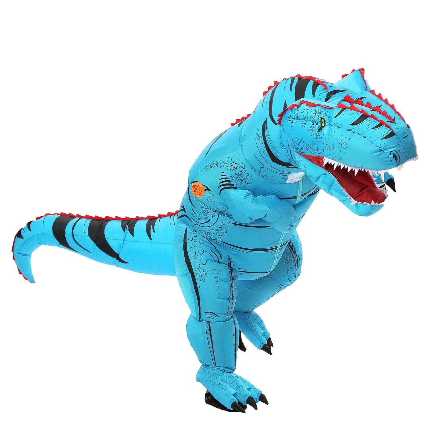 costume dinosaure gonflable t-rex bleu