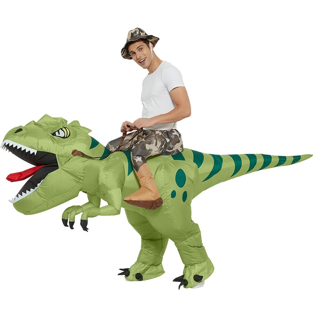 costume gonflable cavalier dinosaure