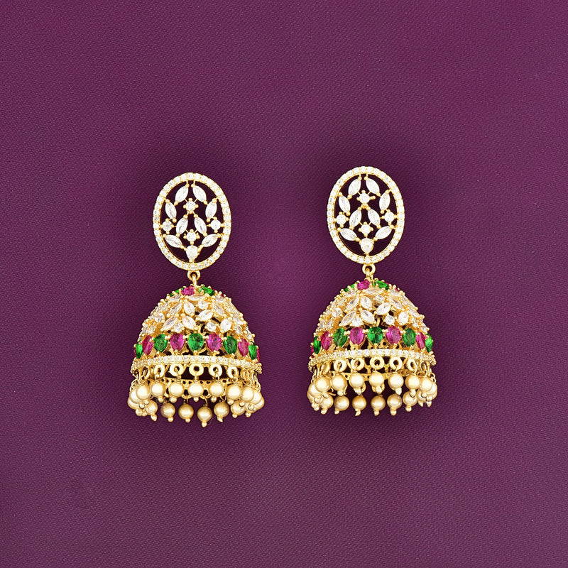 CZ Jhumka Earrings 80454