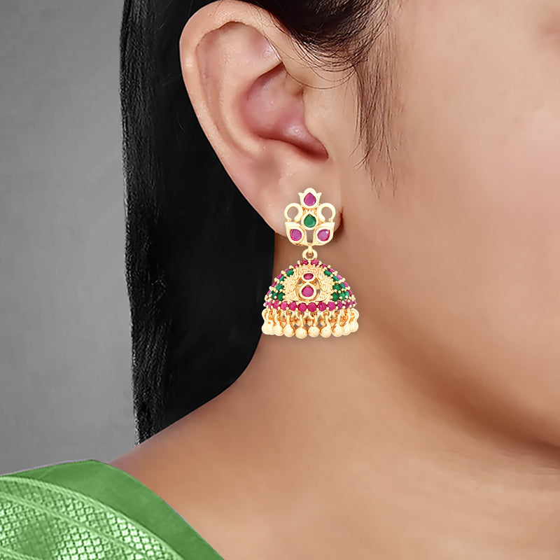 CZ Jhumka Earrings 85278