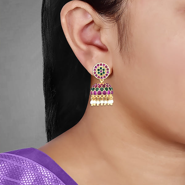 Kempu Jhumka Earrings 85297