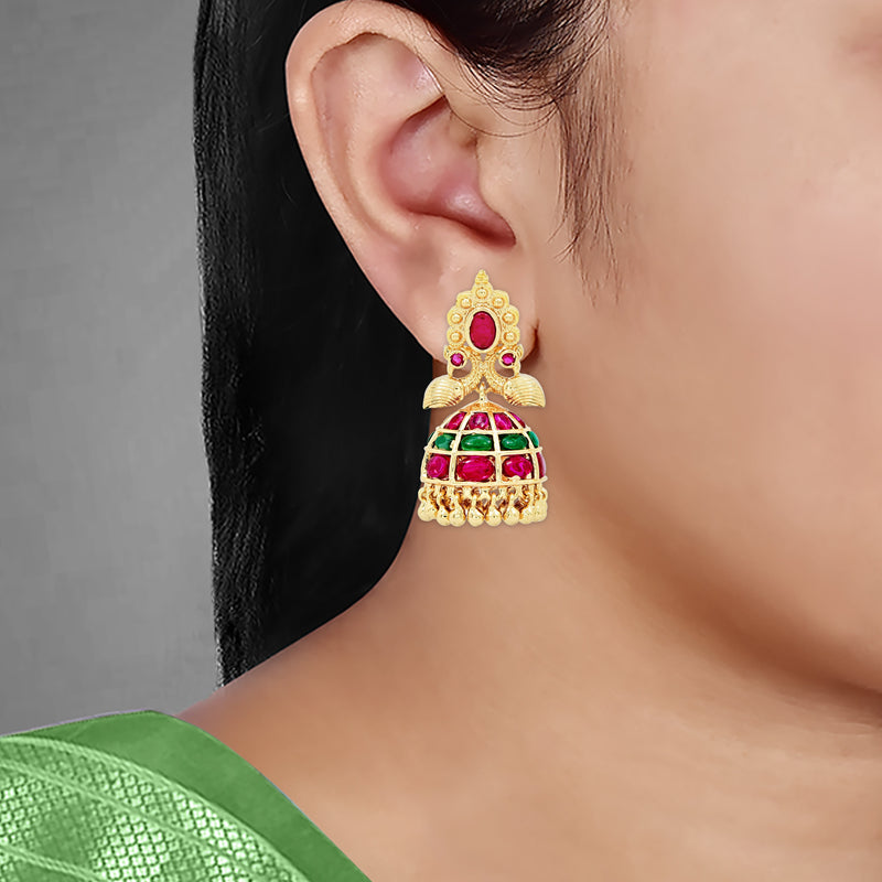 Kempu Jhumka Earrings 85632
