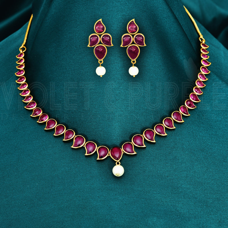 Antique Kempu Necklace Set 89083