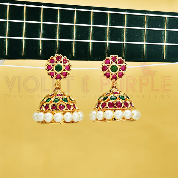 Kempu Jhumka Earrings 89419