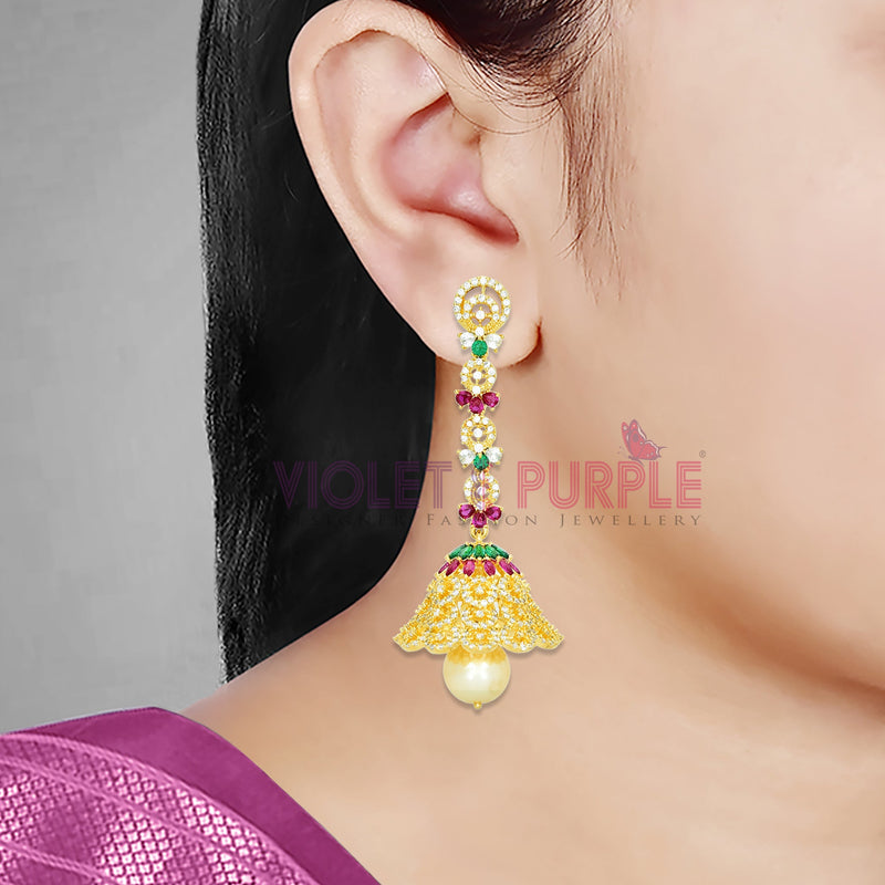 CZ Jhumka Earrings 89498