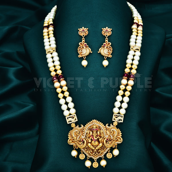 Temple Pearl Pendant Set 89549