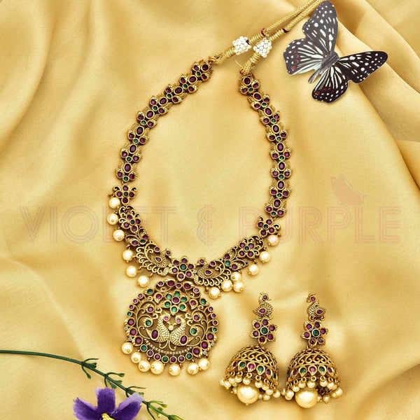 Matt CZ Necklace Set 77806