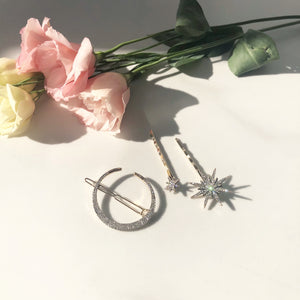 Astria star and moon hair pin set