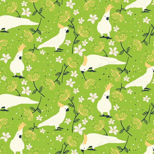 Cockatoo fabric ~ Lime